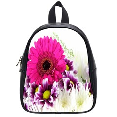 Pink Purple And White Flower Bouquet School Bags (small)  by Simbadda