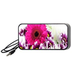 Pink Purple And White Flower Bouquet Portable Speaker (black) by Simbadda