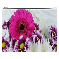 Pink Purple And White Flower Bouquet Cosmetic Bag (xxxl)  by Simbadda