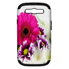 Pink Purple And White Flower Bouquet Samsung Galaxy S Iii Hardshell Case (pc+silicone) by Simbadda