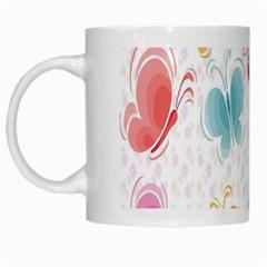 Butterfly Pattern Vector Art Wallpaper White Mugs by Simbadda