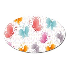 Butterfly Pattern Vector Art Wallpaper Oval Magnet by Simbadda