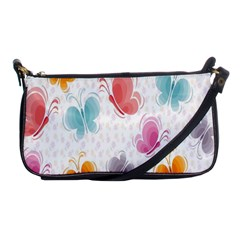 Butterfly Pattern Vector Art Wallpaper Shoulder Clutch Bags by Simbadda