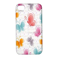 Butterfly Pattern Vector Art Wallpaper Apple Iphone 4/4s Hardshell Case With Stand by Simbadda