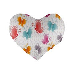 Butterfly Pattern Vector Art Wallpaper Standard 16  Premium Flano Heart Shape Cushions by Simbadda