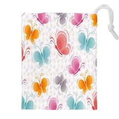 Butterfly Pattern Vector Art Wallpaper Drawstring Pouches (xxl) by Simbadda