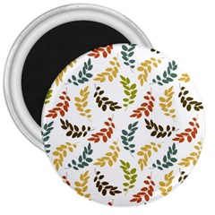 Colorful Leaves Seamless Wallpaper Pattern Background 3  Magnets