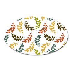Colorful Leaves Seamless Wallpaper Pattern Background Oval Magnet by Simbadda