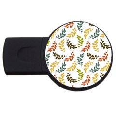 Colorful Leaves Seamless Wallpaper Pattern Background Usb Flash Drive Round (2 Gb)
