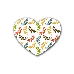 Colorful Leaves Seamless Wallpaper Pattern Background Heart Coaster (4 Pack)  by Simbadda