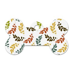 Colorful Leaves Seamless Wallpaper Pattern Background Dog Tag Bone (two Sides) by Simbadda