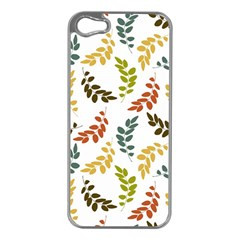 Colorful Leaves Seamless Wallpaper Pattern Background Apple Iphone 5 Case (silver) by Simbadda