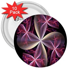 Pink And Cream Fractal Image Of Flower With Kisses 3  Buttons (10 Pack)  by Simbadda