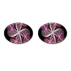 Pink And Cream Fractal Image Of Flower With Kisses Cufflinks (oval) by Simbadda