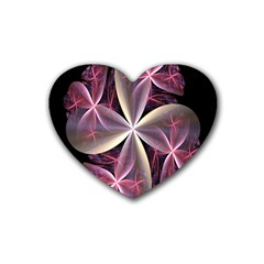 Pink And Cream Fractal Image Of Flower With Kisses Rubber Coaster (heart)  by Simbadda