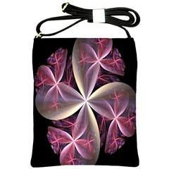 Pink And Cream Fractal Image Of Flower With Kisses Shoulder Sling Bags