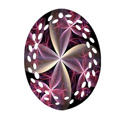 Pink And Cream Fractal Image Of Flower With Kisses Ornament (oval Filigree) by Simbadda