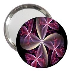 Pink And Cream Fractal Image Of Flower With Kisses 3  Handbag Mirrors by Simbadda