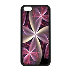 Pink And Cream Fractal Image Of Flower With Kisses Apple Iphone 5c Seamless Case (black) by Simbadda