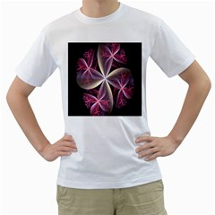 Pink And Cream Fractal Image Of Flower With Kisses Men s T Shirt (white)  by Simbadda