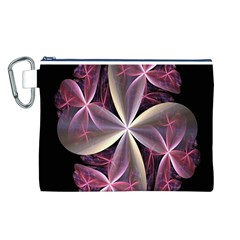 Pink And Cream Fractal Image Of Flower With Kisses Canvas Cosmetic Bag (l) by Simbadda