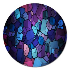 Cubes Vector Art Background Magnet 5  (round) by Simbadda