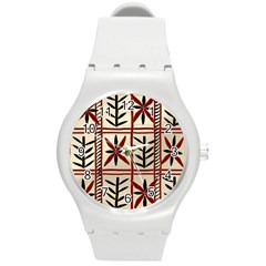Abstract A Colorful Modern Illustration Pattern Round Plastic Sport Watch (m) by Simbadda