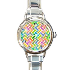 Abstract Pattern Colorful Wallpaper Background Round Italian Charm Watch