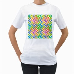 Abstract Pattern Colorful Wallpaper Background Women s T-Shirt (White) (Two Sided)