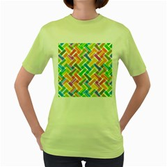 Abstract Pattern Colorful Wallpaper Background Women s Green T-Shirt