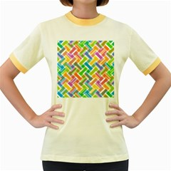 Abstract Pattern Colorful Wallpaper Background Women s Fitted Ringer T-Shirts