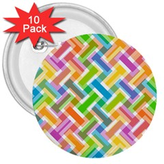 Abstract Pattern Colorful Wallpaper Background 3  Buttons (10 pack)