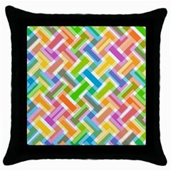 Abstract Pattern Colorful Wallpaper Background Throw Pillow Case (Black)