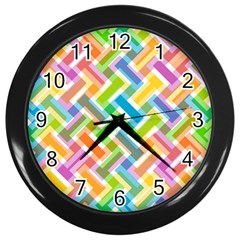 Abstract Pattern Colorful Wallpaper Background Wall Clocks (Black)