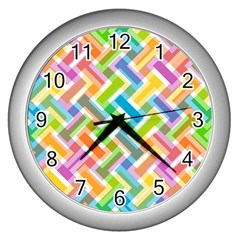 Abstract Pattern Colorful Wallpaper Background Wall Clocks (Silver)