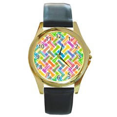Abstract Pattern Colorful Wallpaper Background Round Gold Metal Watch