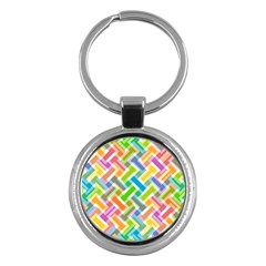 Abstract Pattern Colorful Wallpaper Background Key Chains (Round)