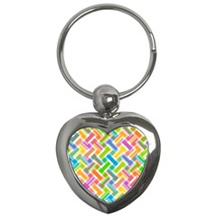 Abstract Pattern Colorful Wallpaper Background Key Chains (Heart)