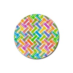 Abstract Pattern Colorful Wallpaper Background Rubber Coaster (Round)
