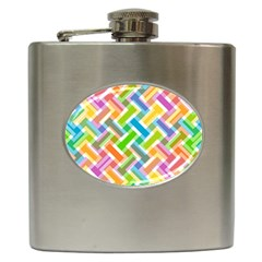 Abstract Pattern Colorful Wallpaper Background Hip Flask (6 oz)