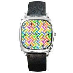 Abstract Pattern Colorful Wallpaper Background Square Metal Watch