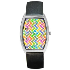 Abstract Pattern Colorful Wallpaper Background Barrel Style Metal Watch