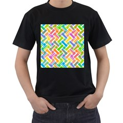 Abstract Pattern Colorful Wallpaper Background Men s T-Shirt (Black) (Two Sided)