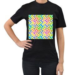 Abstract Pattern Colorful Wallpaper Background Women s T-Shirt (Black) (Two Sided)