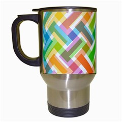 Abstract Pattern Colorful Wallpaper Background Travel Mugs (White)