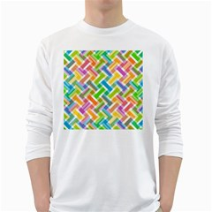 Abstract Pattern Colorful Wallpaper Background White Long Sleeve T-Shirts