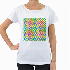 Abstract Pattern Colorful Wallpaper Background Women s Loose-Fit T-Shirt (White)