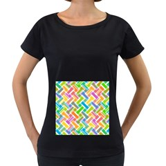 Abstract Pattern Colorful Wallpaper Background Women s Loose-Fit T-Shirt (Black)