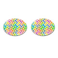 Abstract Pattern Colorful Wallpaper Background Cufflinks (Oval)