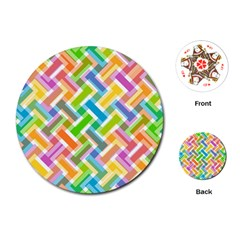 Abstract Pattern Colorful Wallpaper Background Playing Cards (Round)